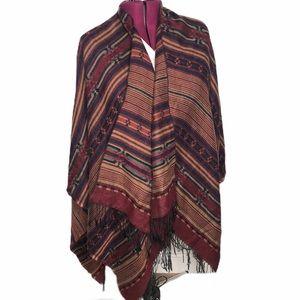 Le Moda Aztec print boho style fringe cape poncho OS